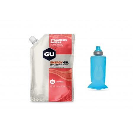GU Gel, Strawberry Banana - 15 portii + Gel Flask 150 ml Pack