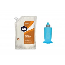 GU Gel, Salted Caramel - 15 portii + Gel Flask 150 ml Pack