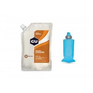 GU Gel, Salted Caramel - 15 portii + Gel Flask 150 ml Pack