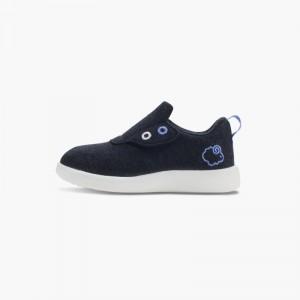 LeMouton Kids Slip-on Velcro Wool shoes Black