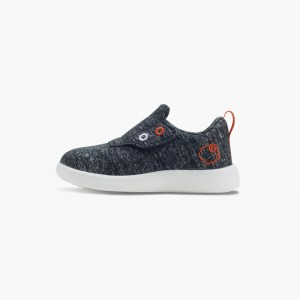 LeMouton Kids Slip-on Velcro Wool shoes Dark Gray