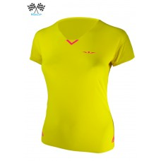 UGLOW-RACE | TSHIRT V-NECK WOMAN | VN3 YELLOW PINK