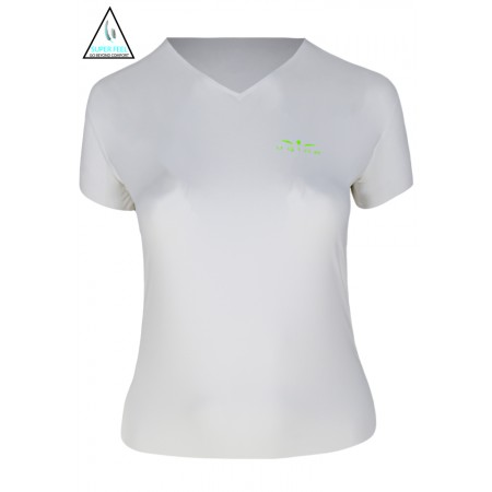 UGLOW T-SHIRT SMU VNECK2 SUPERFEEL WOMEN | WHITE YELLOW